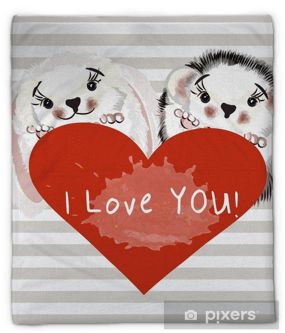 Koc pluszowy Ilustracja moda z cute para króliczek i jeż gospodarstwa podpis serca - Zwierzęta