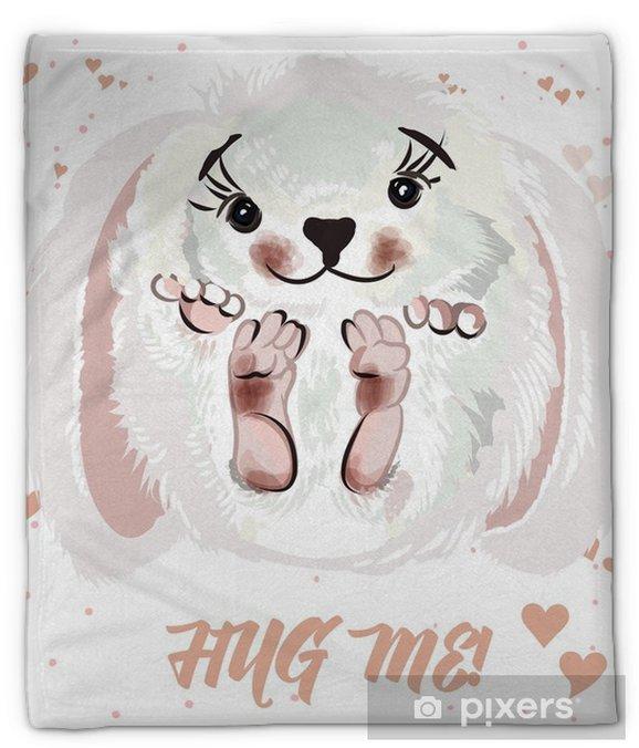 Koc pluszowy Ilustracja wektor ładny lub Walentynki karty z bunny. przytul mnie! - Zwierzęta