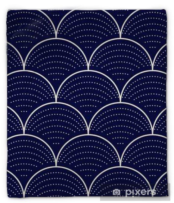Koc pluszowy Japoński fala bez szwu, ilustracji wektorowych - Zasoby graficzne
