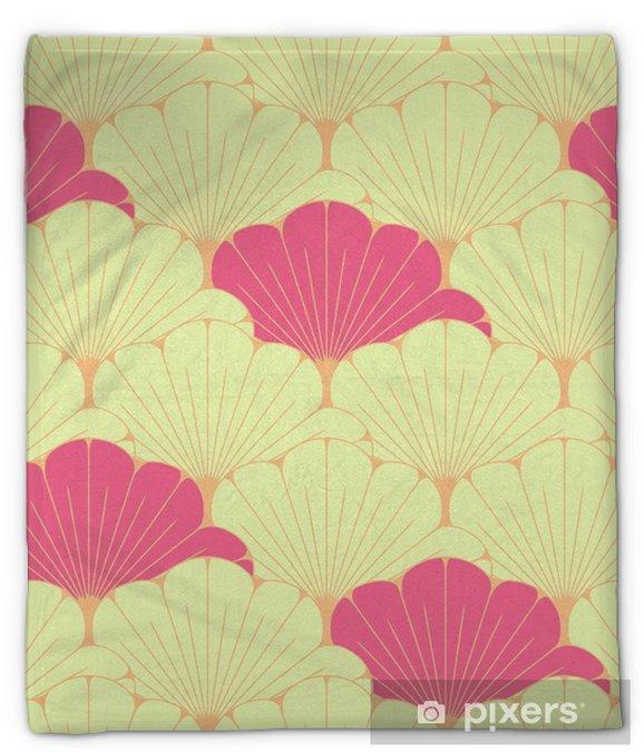 Koc pluszowy Japoński styl bez szwu dachówka z egzotycznym wzorem liści w kolorze różowym - Zasoby graficzne
