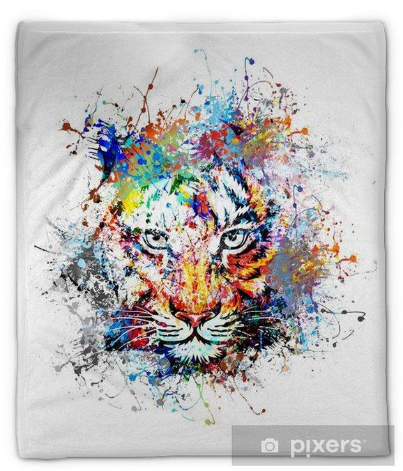 Koc pluszowy Jasne tło z tygrysem - Nauka i natura