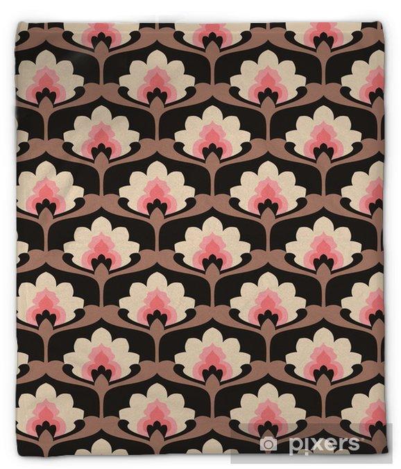 Koc pluszowy Jednolite rocznika wzór kwiatów - Zasoby graficzne