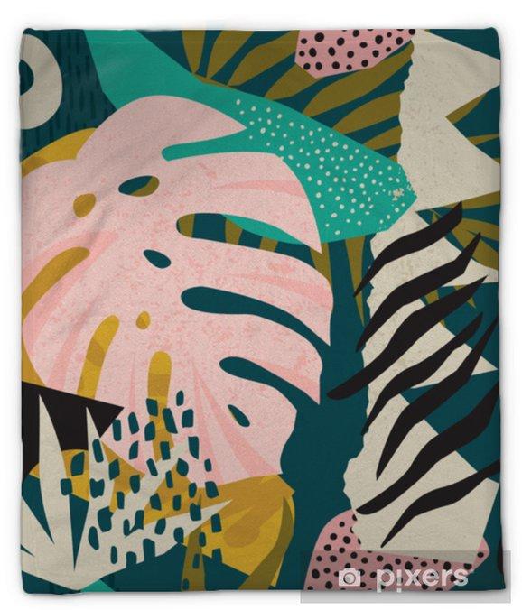 Koc pluszowy Kolaż współczesny kwiatowy hawajski wektor wzór. bezszwowa powierzchnia. - Hobby i rozrywka
