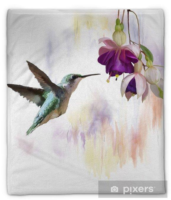 Koc pluszowy Koliber i kwiaty akwarela - Zwierzęta