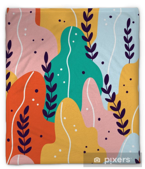 Koc pluszowy Kolorowy egzotyczny wzór z gałęzi i liści - Rośliny i kwiaty
