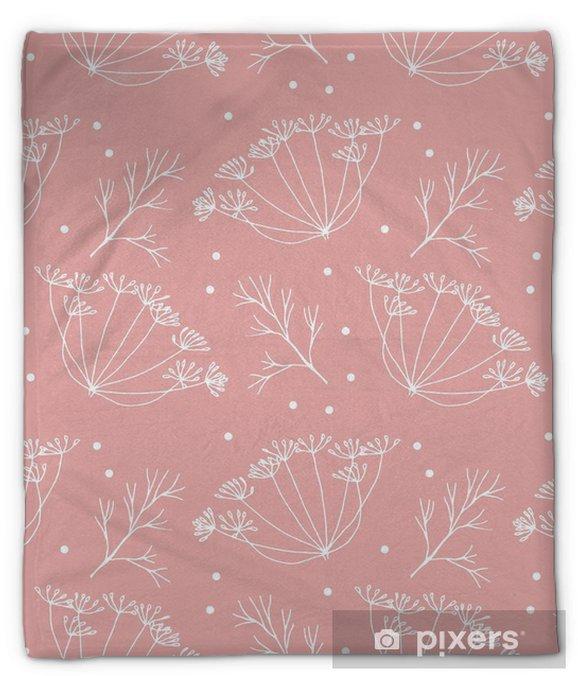 Koc pluszowy Koperek lub kopru kwiatów i liści wzorca. - Rośliny i kwiaty