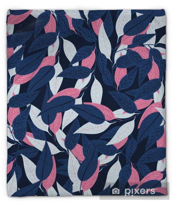 Koc pluszowy Kwiatowy wzór. wzór liścia na ciemnym niebieskim tle do druku projektu. ilustracji wektorowych - Rośliny i kwiaty