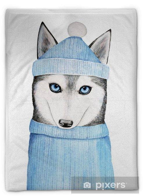 Koc pluszowy Ładny pies husky w niebieskim czapka zimowa i ciepły sweter. miejsce swetra może być użyte do umieszczenia twojego tekstu lub wiadomości. ręcznie malowane akwarela ilustracji, samodzielnie na białym tle - Zwierzęta