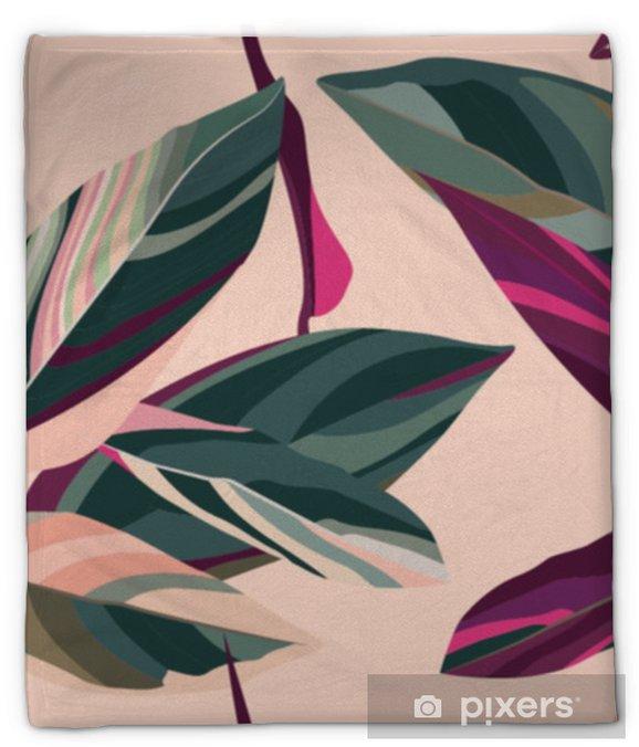 Koc pluszowy Liście Cordelia na różowym tle. kwiatowy wzór. - Rośliny i kwiaty