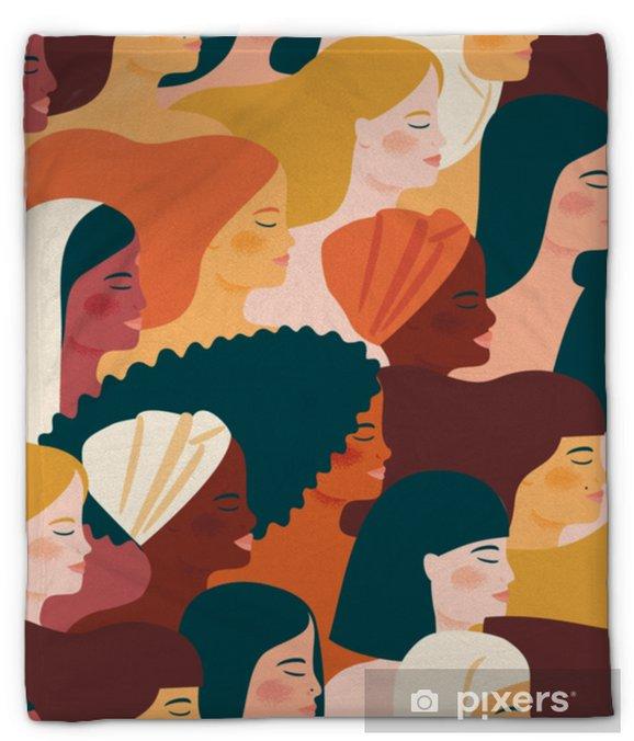 Koc pluszowy Międzynarodowy Dzień Kobiet. wektor wzór z kobietami różnych narodowości i kultur. - Ludzie