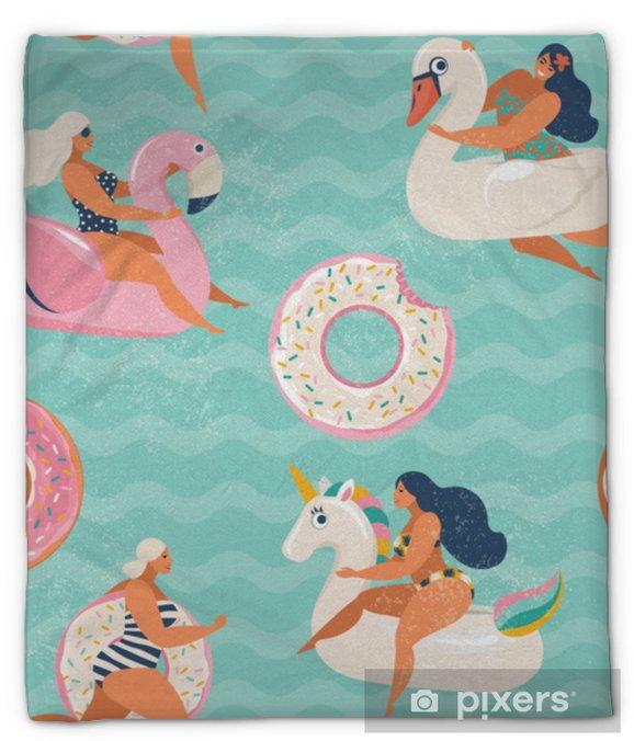 Koc pluszowy Nadmuchiwany basen flamingo, jednorożec, łabędź i słodki pączek unosi wektor wzór. - Hobby i rozrywka