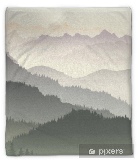Koc pluszowy Pozioma ilustracja zmierzchu w leśnych wzgórzach. - Krajobrazy
