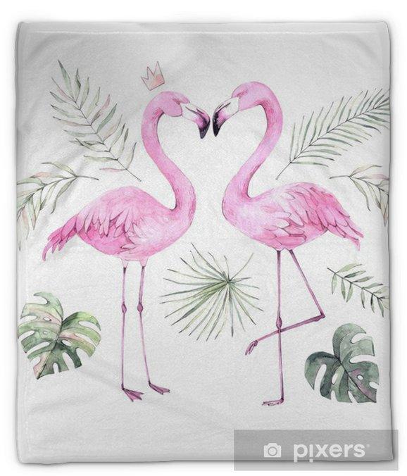 Koc pluszowy Ręcznie rysowane akwarela ilustracja. nadruk z pięknym różowym flamingiem i tropikalnymi liśćmi. idealny na zaproszenia, kartki okolicznościowe, plakaty, blogi itp - Zwierzęta