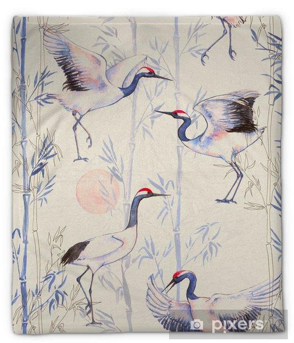 Koc pluszowy Ręcznie rysowane Akwarele szwu z białych japońskich żurawi tańca. Powtarzające się tło z delikatnymi ptaków i bambusa - Zwierzęta