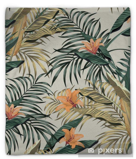 Koc pluszowy Tropikalny banan pozostawia kwiaty bez szwu - Rośliny i kwiaty