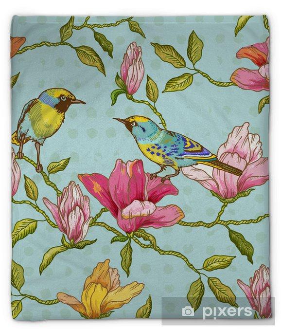 Koc pluszowy Vintage szwu tła - kwiaty i ptaki - Pory roku