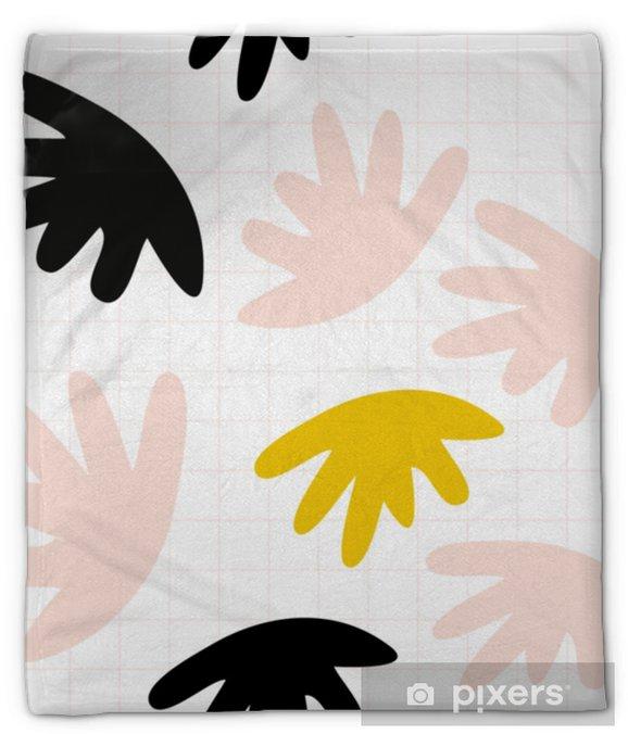 Koc pluszowy Wektor wzór z abstrakcyjnymi organicznymi kształtami w pastelowych kolorach i prostym geometrycznym tle. - Zasoby graficzne