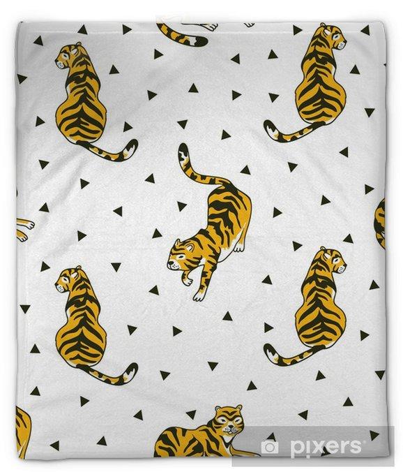 Koc pluszowy Wektor wzór z tygrysami i trójkątów na białym tle na białym tle. tło zwierząt do projektowania tkanin lub tapet boho. - Zasoby graficzne
