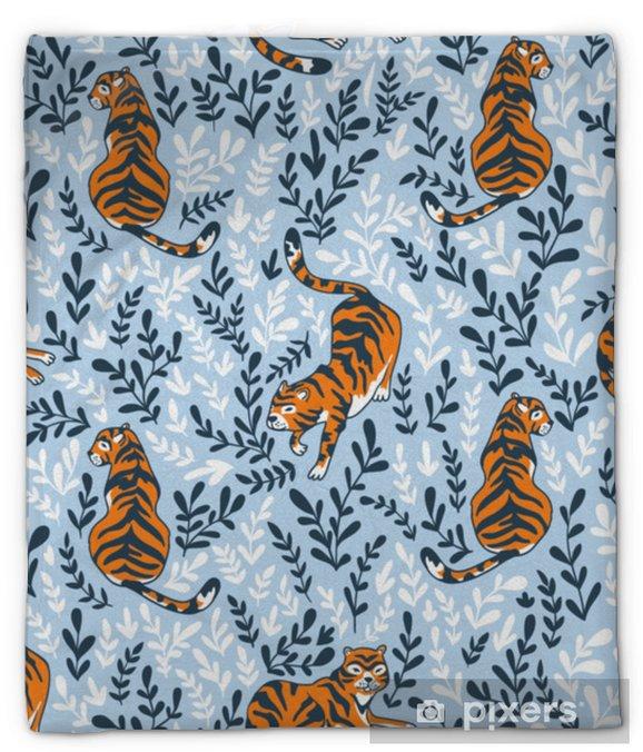 Koc pluszowy Wektor wzór z tygrysami na tle kwiatów. tło zwierzęce do projektowania tkaniny lub tapety boho. - Zasoby graficzne