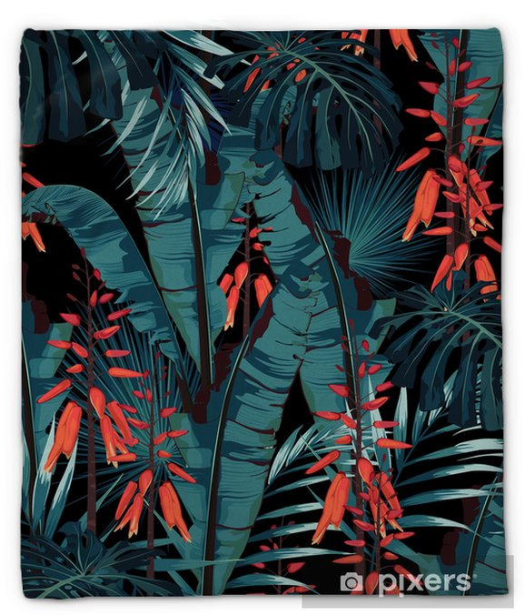 Koc pluszowy Wzór bez szwu kwiatowy wzór w stylu akwareli: soczyste w rozkwicie z pomarańczowymi kwiatami i liśćmi palm i bananów. nowoczesny, jasny wzór druku letniego. wydruk na czarnym tle. - Rośliny i kwiaty