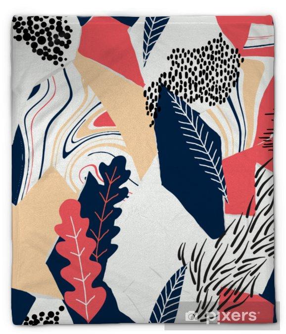 Koc pluszowy Wzór, ręcznie rysowane abstrakcyjny kształt i rośliny na białym tle, czerwone i niebieskie odcienie - Zasoby graficzne
