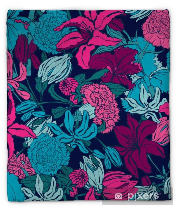 Koc pluszowy Wzór z lilii, ylang, róże, kwiaty goździka. kolorowa wektorowa ilustracja. drukuj na tekstylia domowe i odzież, tkaniny, tekstylia - Zasoby graficzne