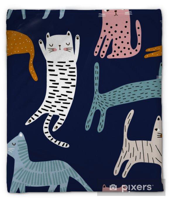 Koc pluszowy Wzór z słodkie kolorowe koty. twórcza dziecinna tekstura. doskonale nadaje się do tkaniny, ilustracji wektorowych włókienniczych - Zasoby graficzne