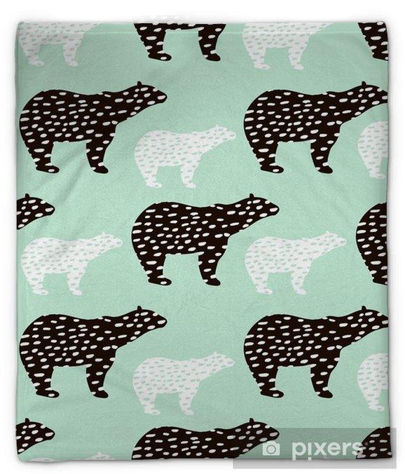 Koc pluszowy Wzór z sylwetka niedźwiedzia polarnego. idealny do tkanin, tło textile.vector - Zasoby graficzne