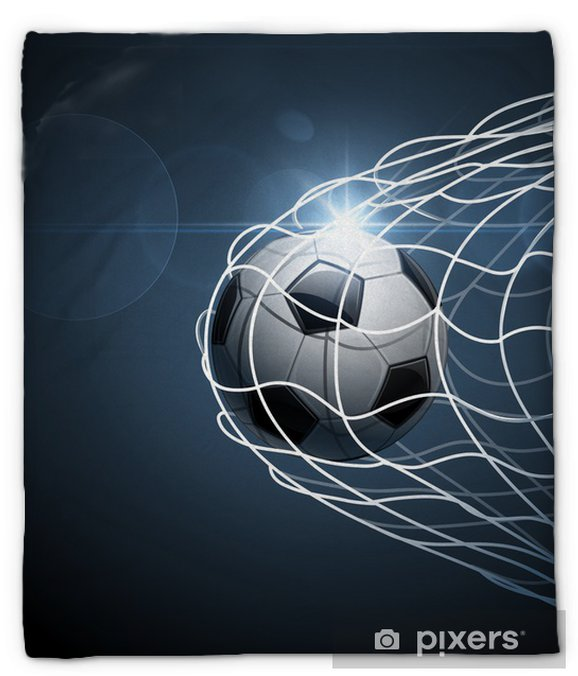 Manta de felpa Balón de fútbol en meta. Vector -