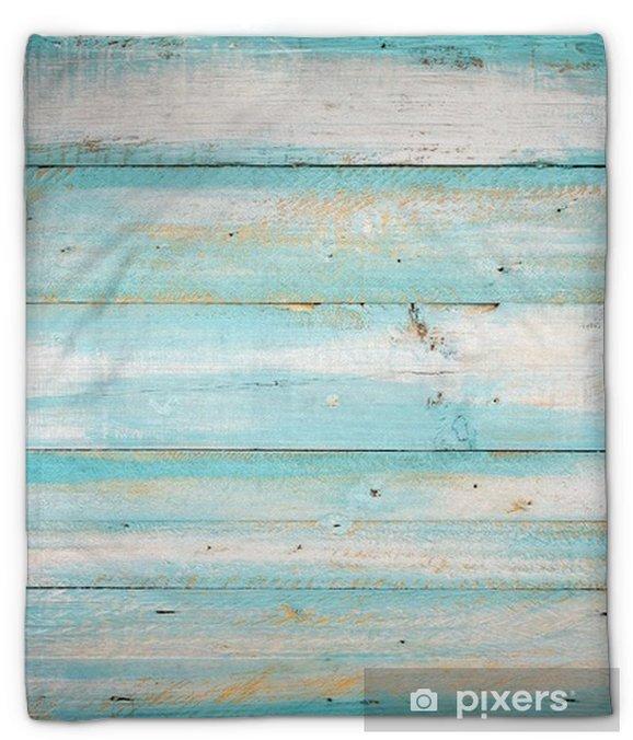 Manta de felpa Fondo de madera de la playa vintage - tablón de madera de color azul antiguo - Recursos gráficos
