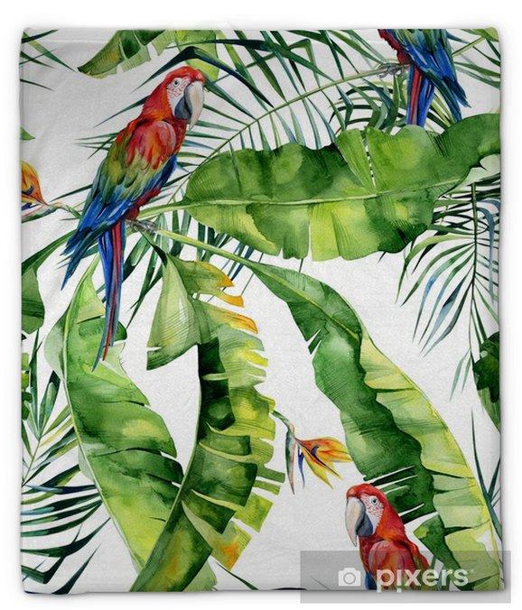 Manta de felpa Ilustración acuarela transparente de hojas tropicales, selva densa. loro guacamayo escarlata. flor de strelitzia reginae. pintado a mano. patrón con motivo trópico de verano. hojas de palma de coco - Recursos gráficos