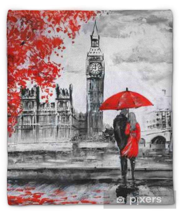 Manta de felpa La pintura al óleo sobre lienzo, vista de la calle de Londres, río y autobuses en el puente. Obras de arte. Gran Ben. hombre y mujer bajo un paraguas rojo - Viajes