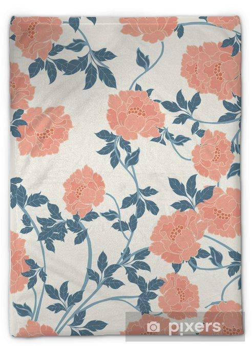 Manta de felpa Patrón de elegancia abstracta con fondo floral. - Plantas y flores