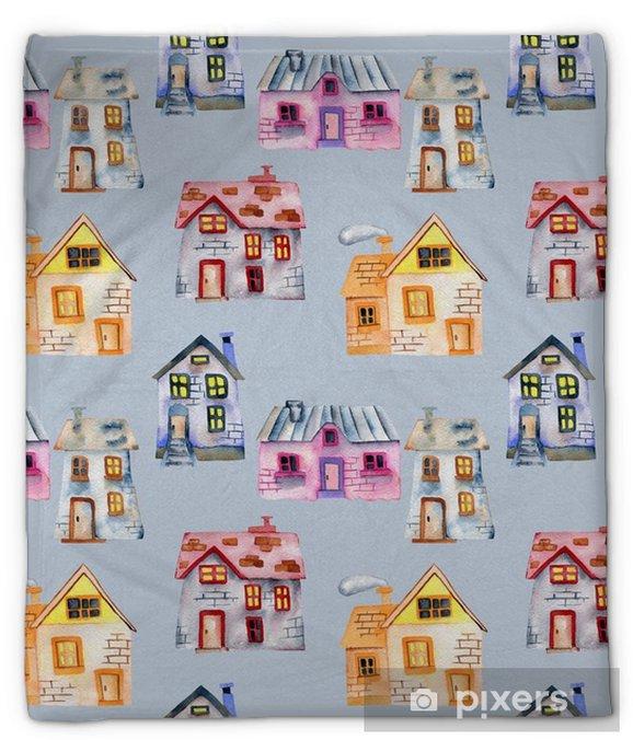Manta de felpa Patrón sin fisuras con casas privadas de dibujos animados de acuarela, pintado a mano aislado en un fondo azul - Construcciones y arquitectura