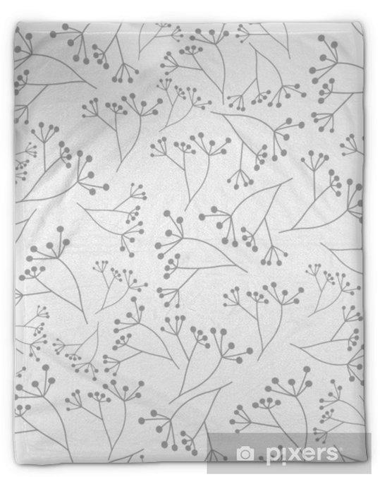 Manta de felpa Patrón transparente floral gris sobre fondo blanco - Recursos gráficos