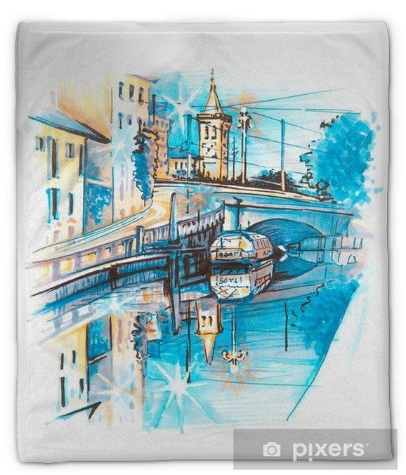 Manta de felpa Puente sobre el naviglio grande canal al amanecer, milan, lombardia, italia. esbozo de trazado y marcadores - Viajes
