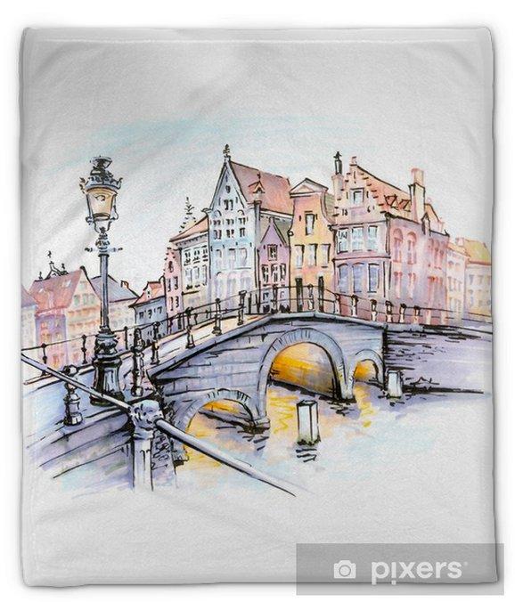 Manta de felpa Vista panorámica de la ciudad de brujas canal con puentes, faroles y hermosas casas medievales al atardecer, bélgica. Marcadores hechos imagen - Viajes