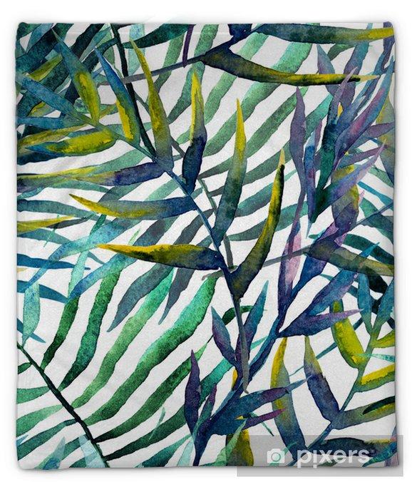 Pluche deken Abstract patroon met bladeren in waterverf - iStaging