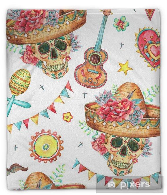 Pluche deken Aquarel naadloze patroon met schedel in sombrero - Hobby's en Vrije tijd