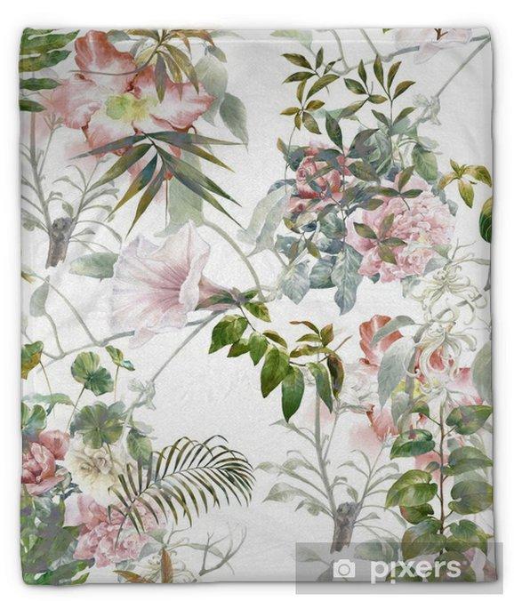 Pluche deken Aquarel schilderen van bladeren en bloemen, naadloze patroon op een witte achtergrond - Hobby's en Vrije tijd