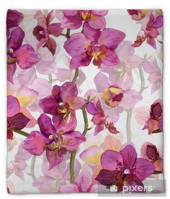 Pluche deken Bloemen naadloze achtergrond met aquarel geschilderd paarse orchideebloemen - Grafische Bronnen