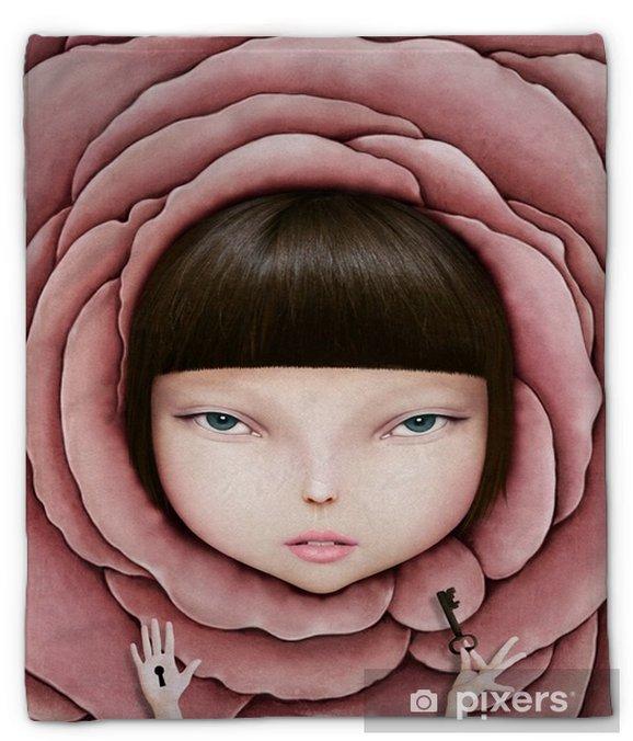 Pluche deken Conceptuele illustratie of poster met het hoofd van het meisje in roze bloemblaadje met de sleutel in zijn hand. - Hobby's en Vrije tijd