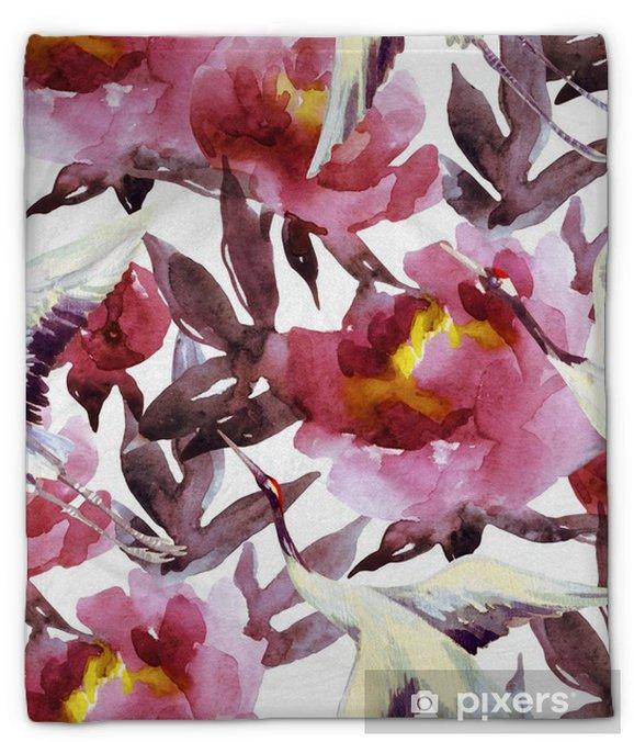Pluche deken Handgeschilderde aquarel pioenen en kraanvogels - Bloemen en Planten