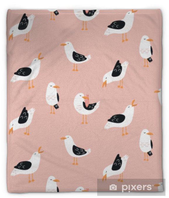 Pluche deken Modern kinderachtig naadloos patroon met zeemeeuwen in vector. leuke cartoonzeemeeuwen. zomervakantie. goed voor afdrukken. - Dieren