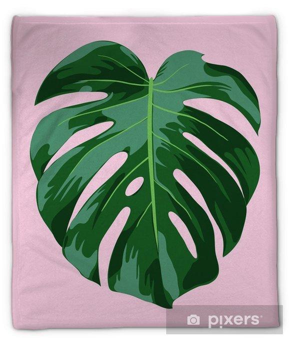 Pluche deken Monstera tropische bladillustratie - Bloemen en Planten
