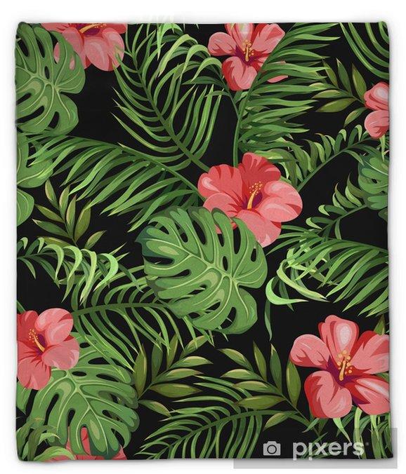 Pluche deken Naadloos patroon met exotische bloemen en bladeren. tropische planten - Grafische Bronnen