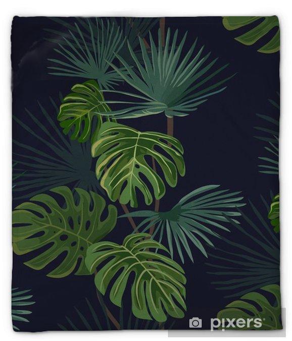 Pluche deken Naadloos patroon met tropische bladeren. Hand getrokken achtergrond. - Bloemen en Planten