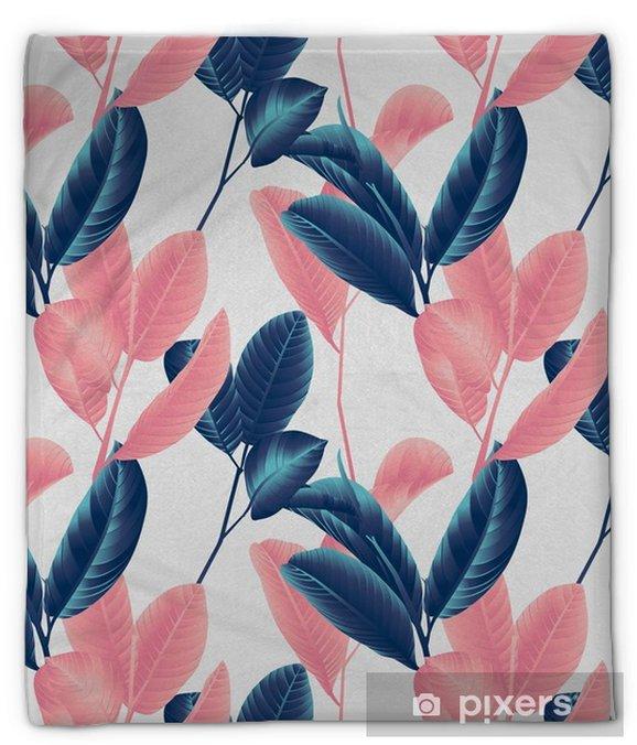 Pluche deken Naadloze patroon, hand getrokken blauwe en roze guave blad op takje op grijze achtergrond - Bloemen en Planten