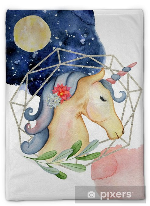 Pluche deken Schattig eenhoorn aquarel hand getekend merry christmas illustratie met nachtelijke hemel en de maan - Hobby's en Vrije tijd