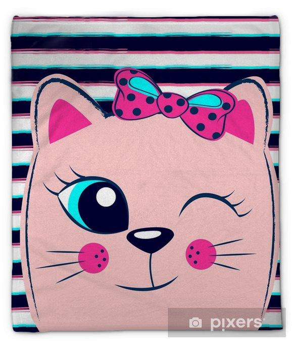 Pluche deken Schattig roze kitten met roze strik op gestreepte achtergrond. meisjesachtige print met kat voor t-shirt - Dieren